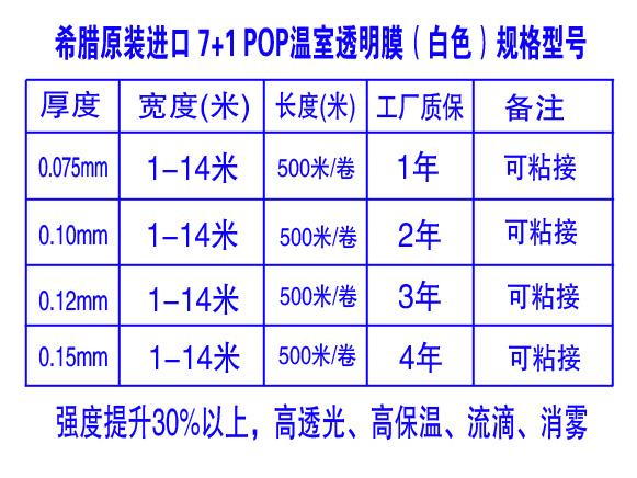 希腊原装进口 7+1 POP 温室透明膜规格型号